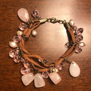 suede and rose quartz bracelet